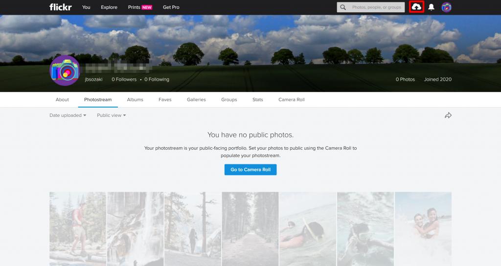 Frickrのマイページ