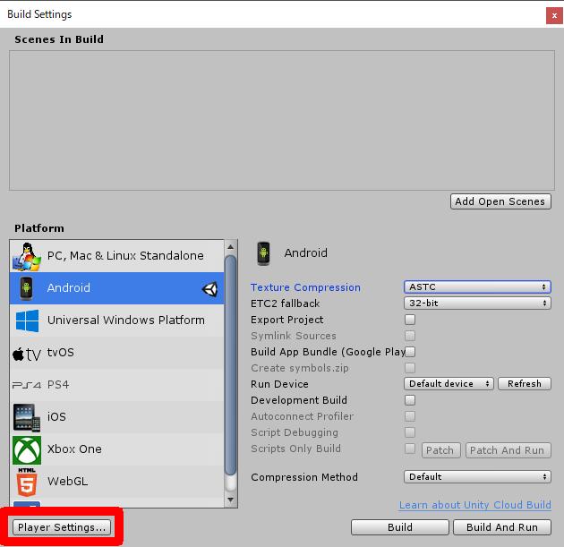 Unityのビルド設定からPlayer Settingsを開く