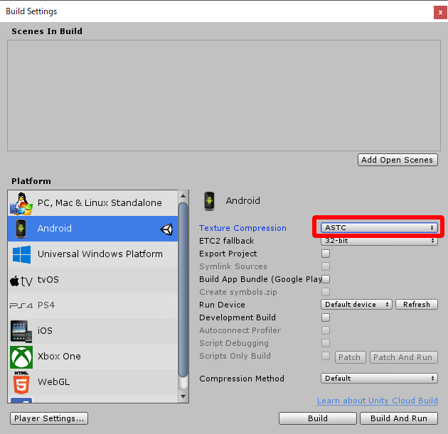 Unityのビルド設定でTextrue CompressionをASTCに設定