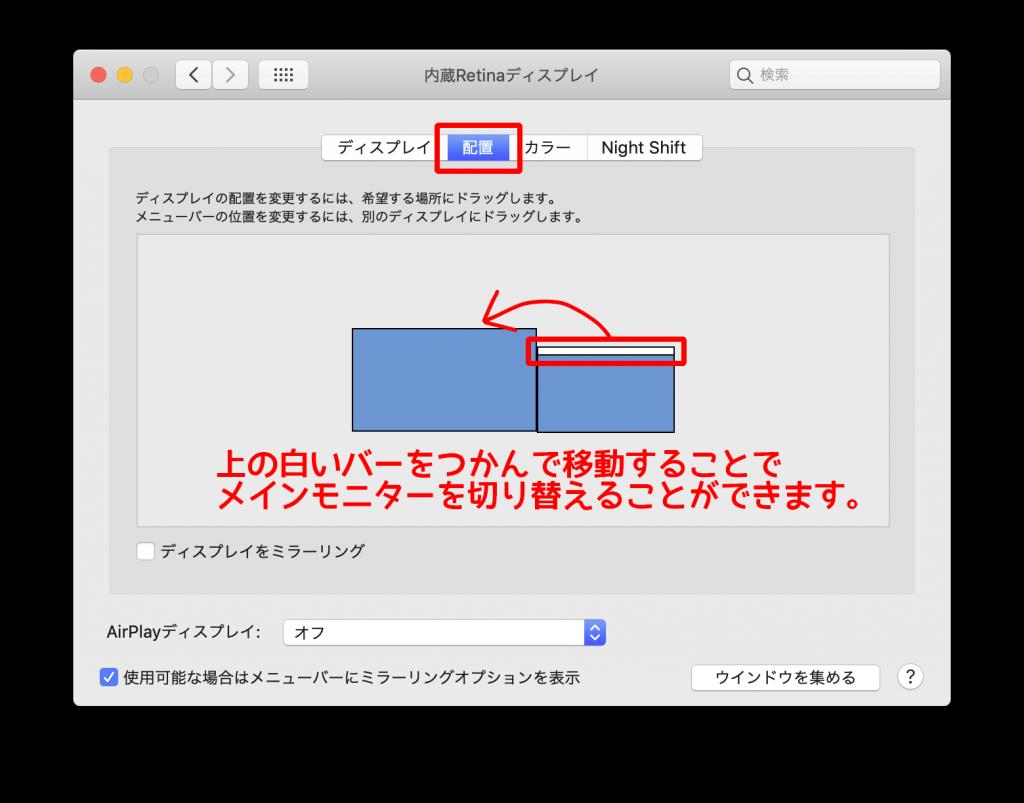 Macのディスプレイの設定