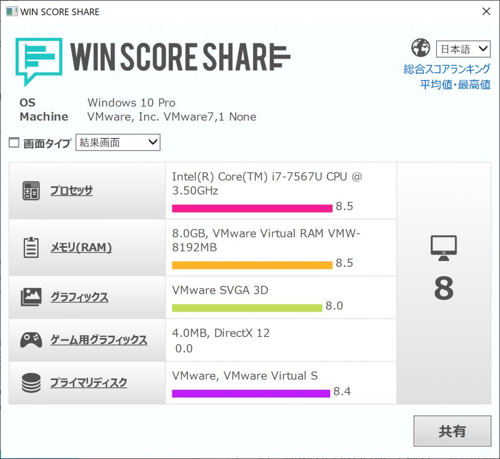 VMware FusionのWindows仮想マシンでWindowsエクスペリエンスインデックスの計測