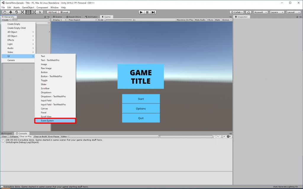 Unityエディタ シーンにEvent Systemを追加