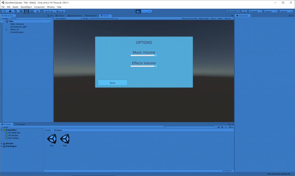 Game Jam Menu Template のOPTIONS画面