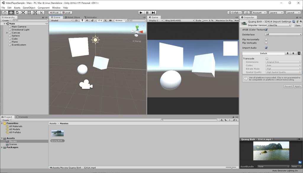 UnityエディタでVideo Playerのサンプルシーン