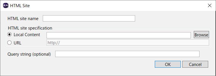 BrightAuthor HTML Siteの追加ダイアログ