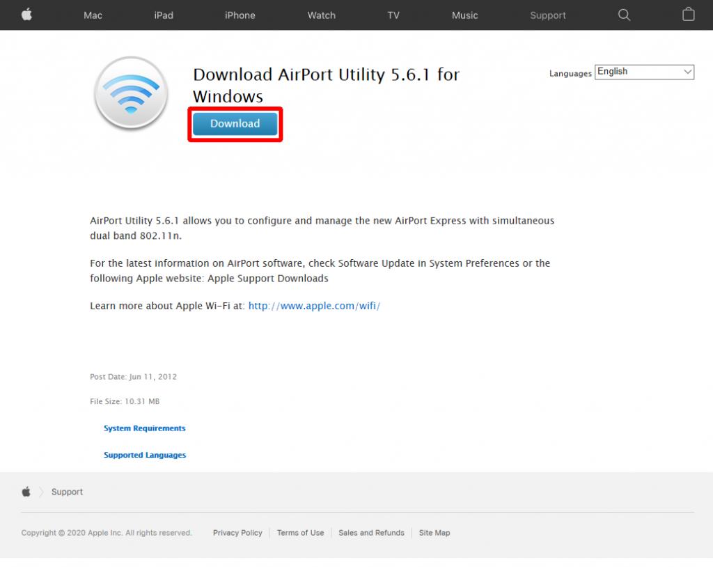 Apple AirPort Utility ダウンロードページ