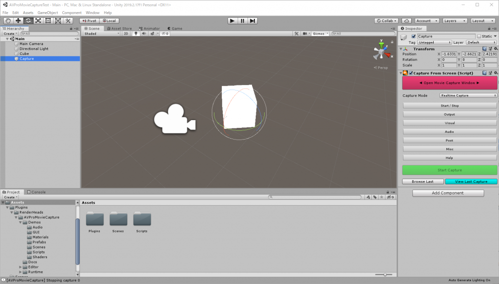 Unity Editor GameObject に Capture From Screen コンポーネントを追加後