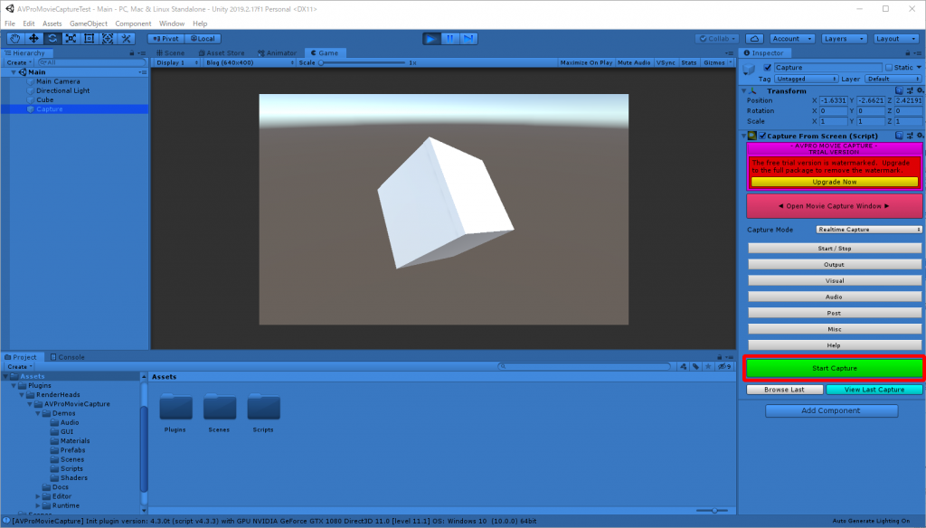 Unity Editor でゲーム画面をキャプチャ開始