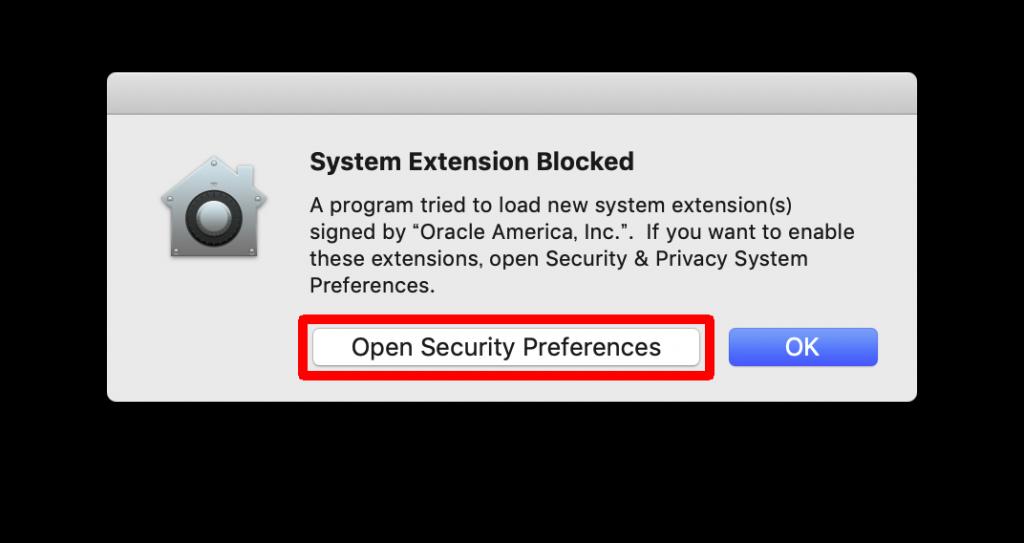 VirtualBox インストール System Extension BLocked