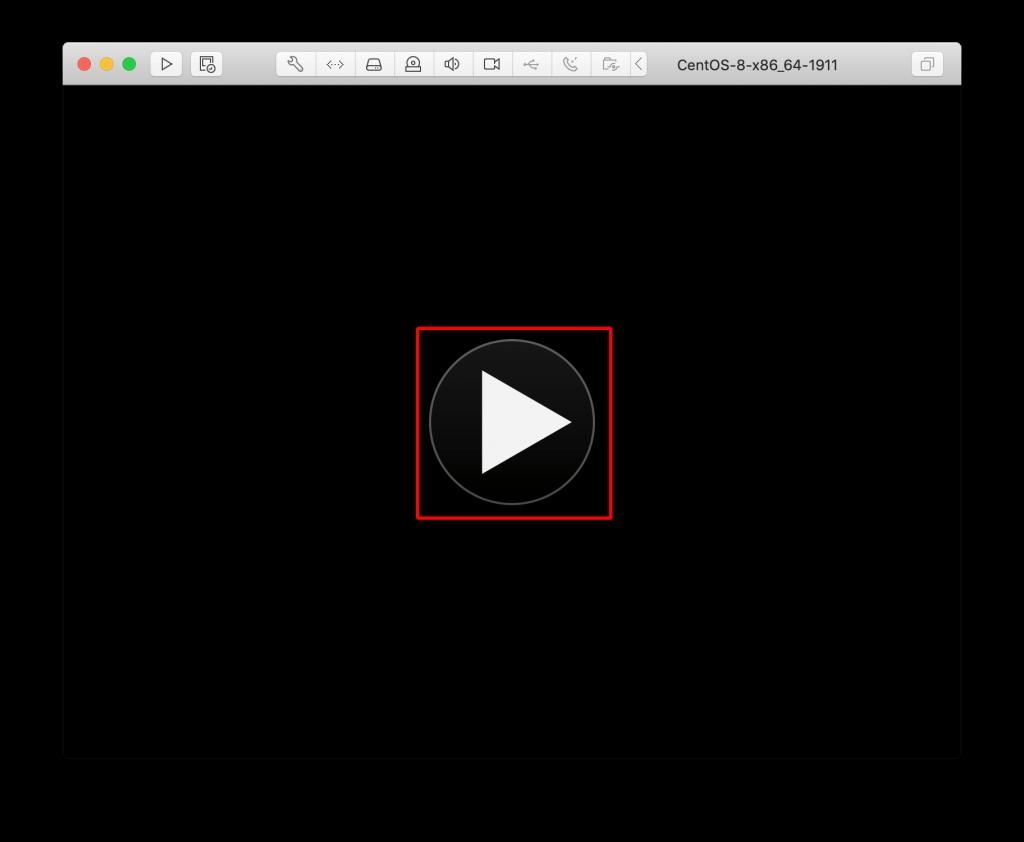 VMWare fusion CentOS 8 仮想マシン起動画面
