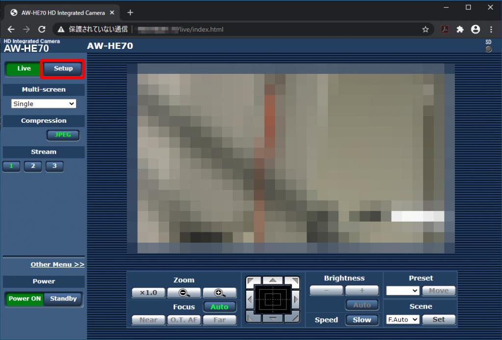 Panasonic インテグレーテッドカメラ Web Live画面