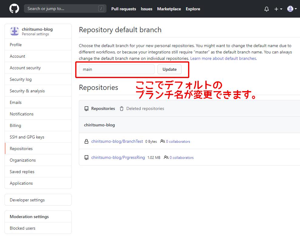 GitHub リポジトリのデフォルトブランチ名の設定