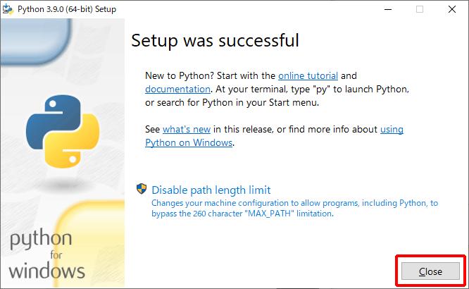 Python 3.9.0 インストーラー インストール完了画面