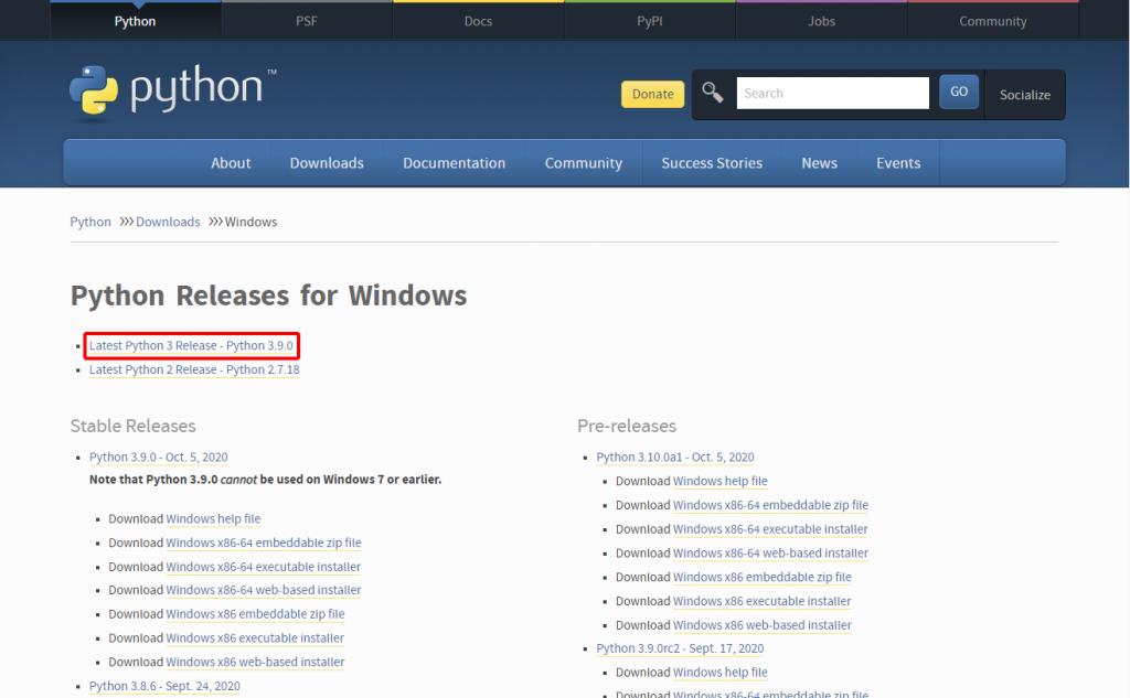Windows版 Pythonダウンロードページ