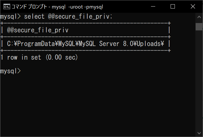 MySQL 書き込み可能ディレクトリの確認