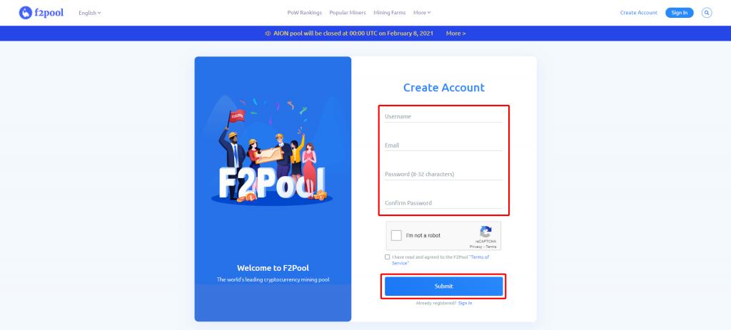 F2Pool のアカウント登録