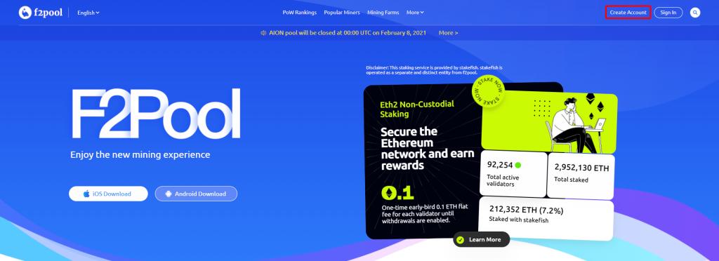 F2Pool の公式サイト